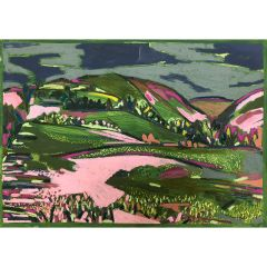 Bright Pink Light in the Shropshire Hills by Christabel Forbes