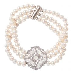 White Pearl & Pavé Crystal Ornate Three Strand Bracelet