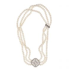 White Pearl & Pavé Crystal Ornate Three Strand Necklace