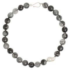 Tourmalinated Quartz and Freshwater Pearl Necklace
