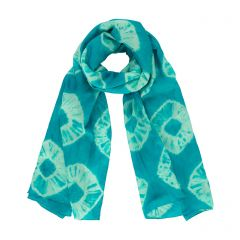 Turquoise Tie-dye Silk Scarf