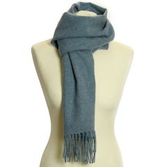 Lambswool Scarf with Rolled Fringe: Stone Blue