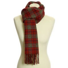 Lambswool Scarf with Rolled Fringe: Country Check Ruby
