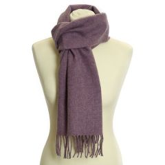 Lambswool Scarf with Rolled Fringe: Lilac
