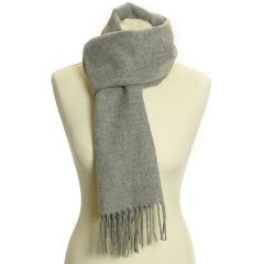 Lambswool Scarf with Rolled Fringe: Steel
