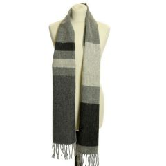 Lambswool Scarf with Rolled Fringe: Stripe Blackbird