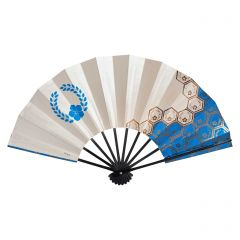 Vintage Japanese Fan - Blue Hexagons