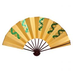 Vintage Japanese Fan - Green Check