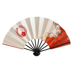 Vintage Japanese Fan - Red Hexagons