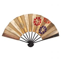 Vintage Japanese Fan - Gold Flowers