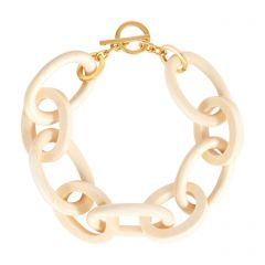 White Wood Oval Link Bracelet with Gold Plated Clasp